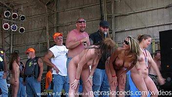 watch these girls get buck wild on stage at an iowa biker rally