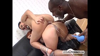 Two horny babes enjoying milk and a big black cock MJ-3-01