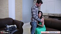 Chesty brunette Eva Angelina gets facialized