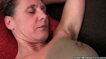 Granny Inge gets fingered up her full bushed pussy