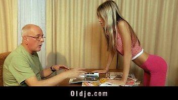 Materialist young blonde fucks grandpa for money