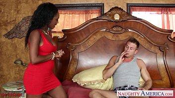 Ebony gf in red dress Layton Benton gets pussy nailed