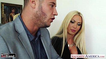 Busty blonde Nikki Benz take cock