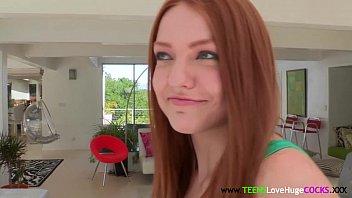 Adorable cockloving redhead fucked closeup 8 min