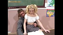 Scoolgirl's sex lesson in the classroom