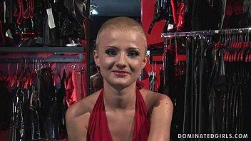 Submissive bondage shopgirl whore manacled spanking and BDSM fucking