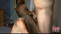 longhaired blonde milf gives a hair covered face blowjob