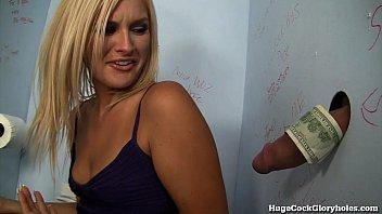 Hot Blonde Blows a Stranger in a Public Bathroom!