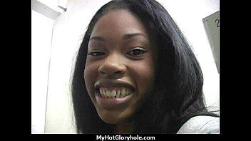 Ebony teen shows off her blowjob skills at gloryhole 9