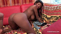 Pretty big boobed french black deep anal fucked and jizzed on body for a casting