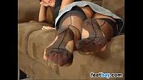 Nylon Stockings Covered Feet Close Up