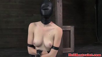Redhead sub caned while tiedup in box