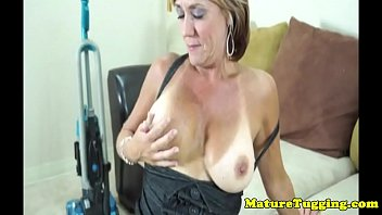 Busty tanlined cougar wanking young cock 7 min