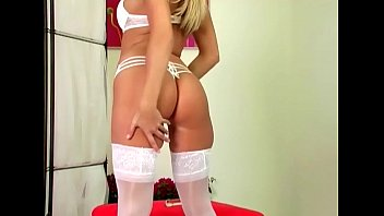 Blonde stripping and fingering in white lingerie