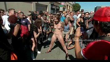 Naked slave fucked in public by gang