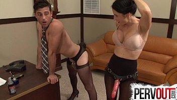 naughty secretary pegs her boss