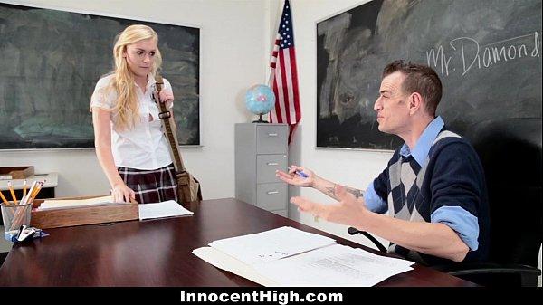 InnocentHigh - Blonde Schoolgirl (Jessie Young) Fucked Hard By Her Prof