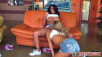 Interracial lesbian gang bang porn HD Video;