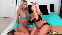Amazing blondes with perfect figures, big boobs and pretty faces; Molly Cavalli and Natalie Vegas