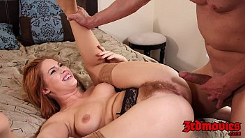 natural redhead tugs her hairy pussy 10 min