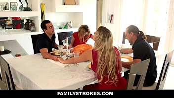 FamilyStrokes - Step Sister (Angel Smalls) Sucks And Fucks Brother During Thanksgiving Dinner 10 min