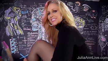 Sexy Milf Julia Ann Sweater Strip Tease & Solo! 10 min