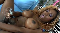 Black Tgirl Storm Jerks Playing With A Dildo