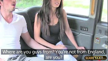 Horny lovers is having fun in the backseat of the taxi