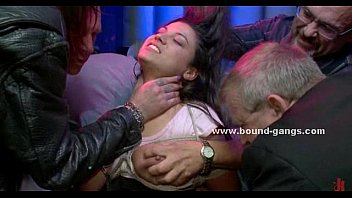 Busty blonde in club undressed tied and to perform in b. gangbang sex