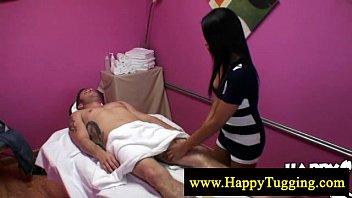 Asian masseuse tugs and sucks