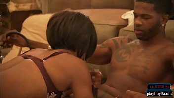 Black hottie in a hot threesome with two horny guys