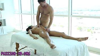 Massaged babe sucks cock