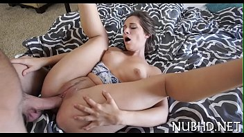 Chick with diminutive tits rides boner
