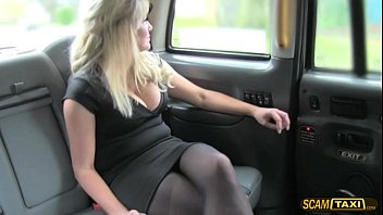 Wild fuck in the taxi with blondie chick and hot creampie