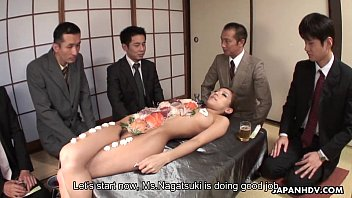 Business lunch is all over her naked body