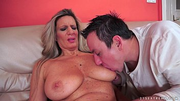Huge titted granny fucks in stockings