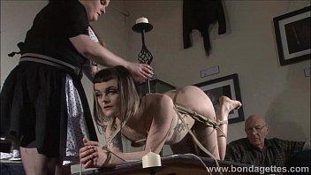 Alternative fetish model Violettes lesbian bondage and livingroom restraints of