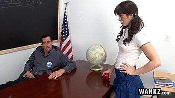 WANKZ - Tight Schoolgirl Takes Her Teacher's Huge Cock After Class!