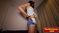 Amateur asian shemale playing with her dick