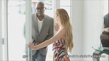 Gagging on landlords big black dick