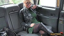 Busty lady gets pussy licked and fucked hard in the taxi