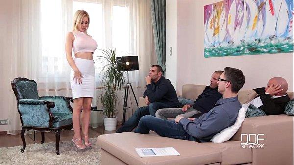 Fantastic Five Busty Blonde Sucks down 4 Hot loads 29 min