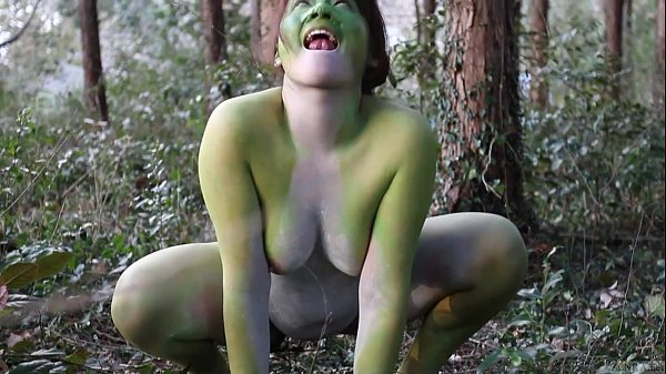 Stark naked Japanese fat frog lady in the swamp HD