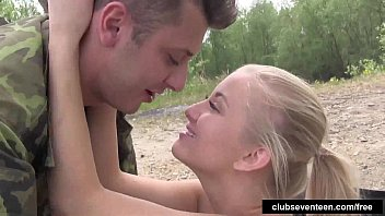 Blonde teen Cayla take cock outdoors