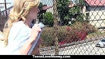 TeensloveMoney- Stranded Blonde (Crissy Kay) Gives Up Pussy For Cash