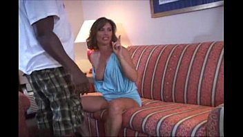 crazy wife in blue dress has a bbc party in hotel