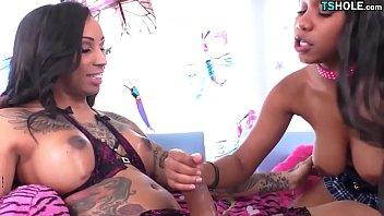 Ebony Shemale And Girl Having Fun