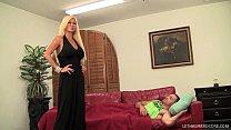 Big tit MILF Nikita Von James fucks her sons friend on couch