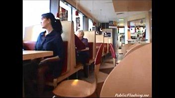 Flashing in restaurant PublicFlashing.me