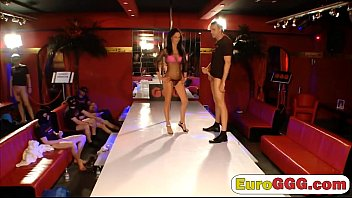 Dick hungry European babe gets satisfied on by three guys